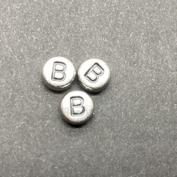 Műanyag ezüst színű kör b betűgyöngy (7mm)