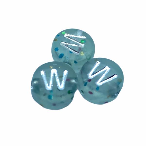 """Műanyag glitterrel díszített kör """"W"""" betűgyöngy (7mm)"""