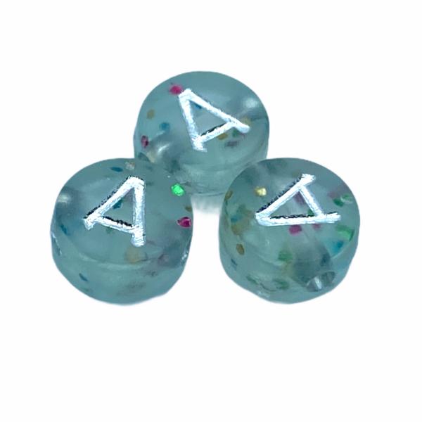 """Műanyag glitterrel díszített kör """"A"""" betűgyöngy (7mm)"""