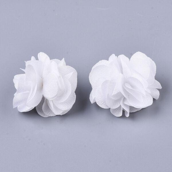 Fehér virág alakú pompon (34mm)
