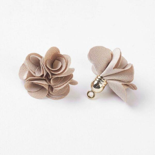 Bézs virág alakú bojt (30x30mm)
