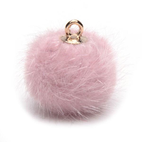 Rózsaszín műszörme pompon (16mm)