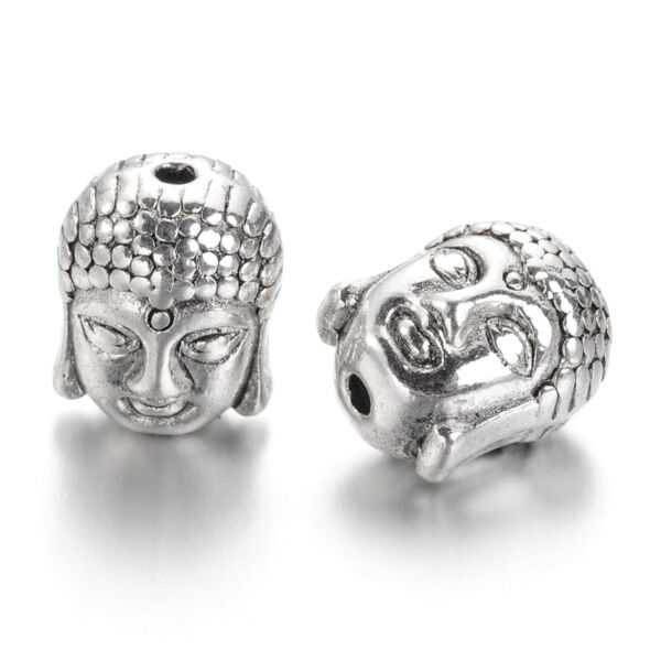 Antik ezüst színű buddhafej alakú gyöngy