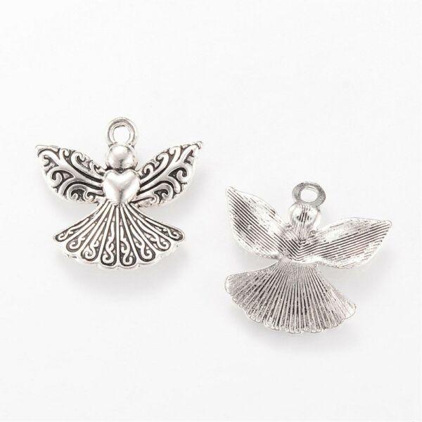 Antikolt ezüst színű angyal fityegő