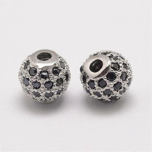 Strasszal díszített ezüst színű fekete köves cirkónia gyöngy (6mm)