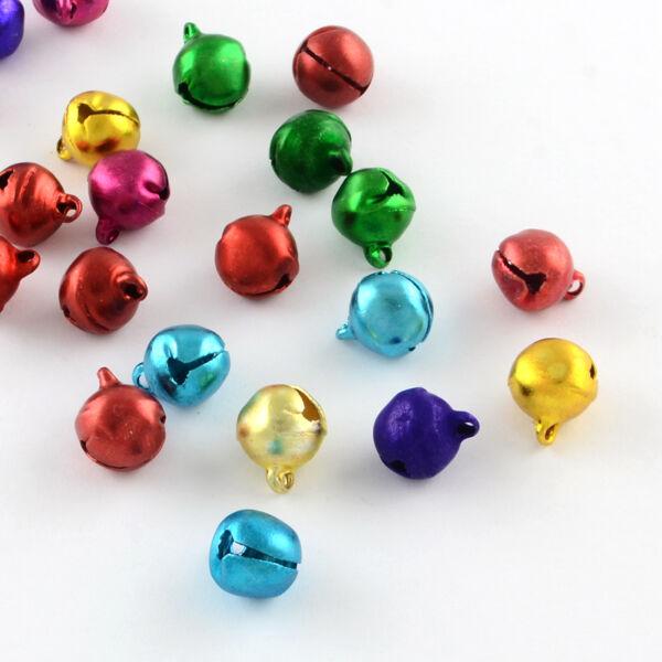 10db karácsonyi csengettyű fityegő (vegyes színek) (8mm)