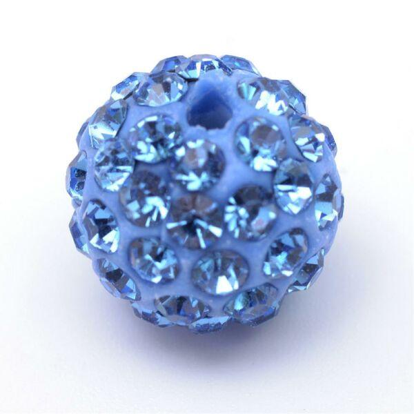 Strasszal díszített világos kék gyöngy (12mm)