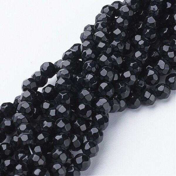 10db Fekete csiszolt üveggyöngy (6mm)
