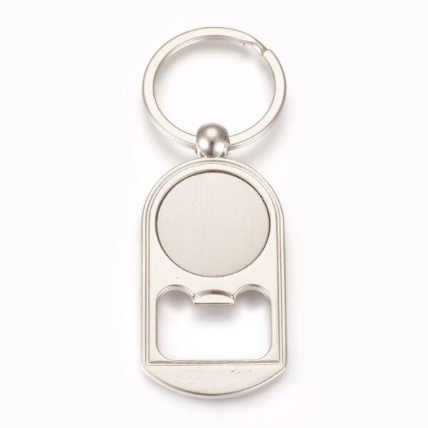 Antikolt ezüst színű sörbontó kulcstartóval (25mm) hozzá tartozó üveglencsével