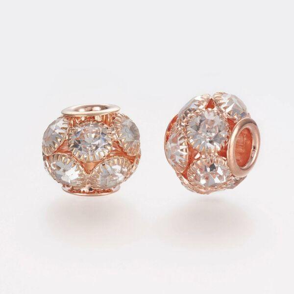 Strasszal díszített rozé arany gyöngy (12x14mm)