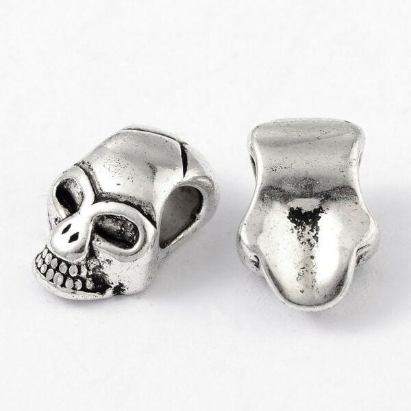 Antikolt ezüst színű koponya alakú gyöngy (12x8x6mm)