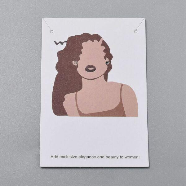 10db Női arc 2 fülbevaló és nyaklánc tartó papír (9x6cm)