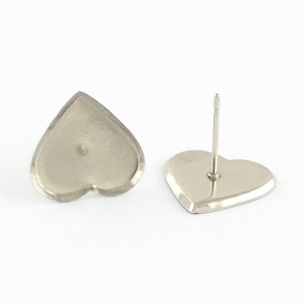 Nemesacél szív alakú bedugós fülbevaló alap