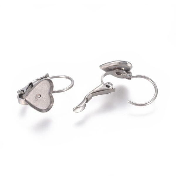 Nemesacél szív alakú kapcsos fülbevaló alap