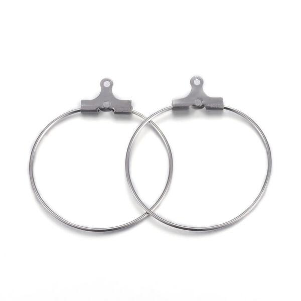 1 pár nemesacél kör nyitható fülbevalóalap