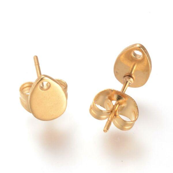 Nemesacél arany csepp alakú tovább építhető bedugós fülbevaló alap