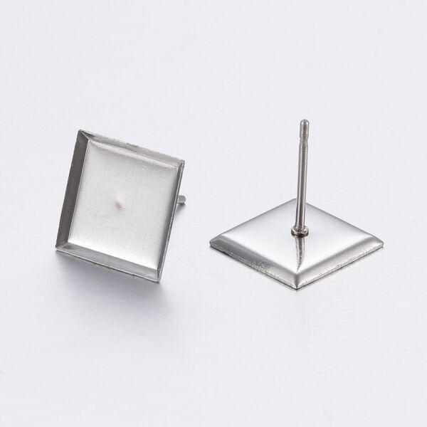 Nemesacél négyzet alakú bedugós fülbevaló alap (10x10mm)
