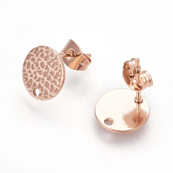 Nemesacél rozé arany kör alakú tovább építhető bedugós fülbevaló alap