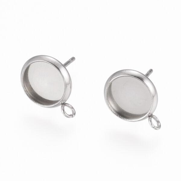 Nemesacél bedugós fülbevalóalap hurokkal és hozzátartozó üveglencsével (8mm)
