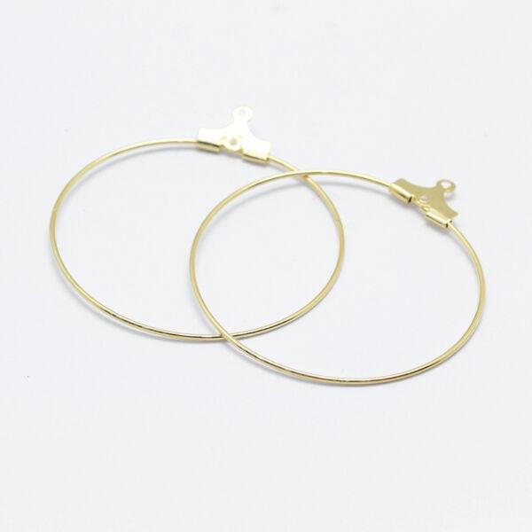 1 pár arany színű kör nyitható fülbevalóalap 18K arany bevonattal