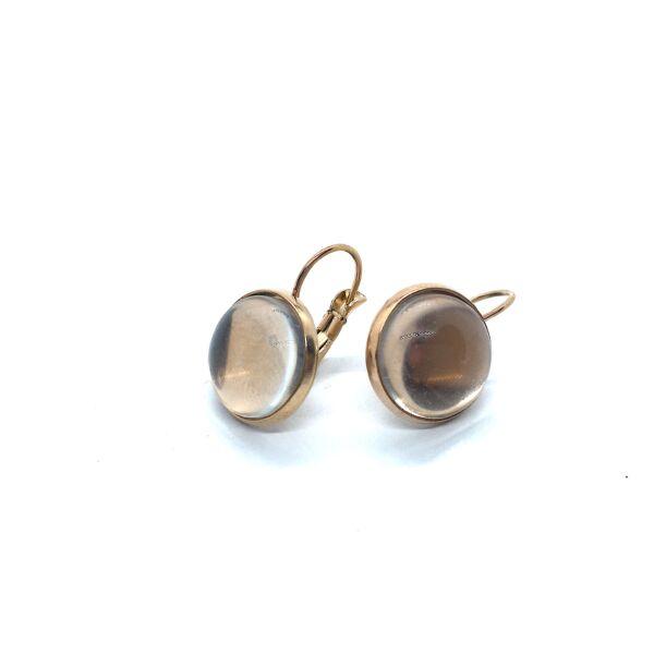 Rozé arany színű nemesacél kapcsos fülbevalóalap (12mm) hozzá tartozó üveglencsével