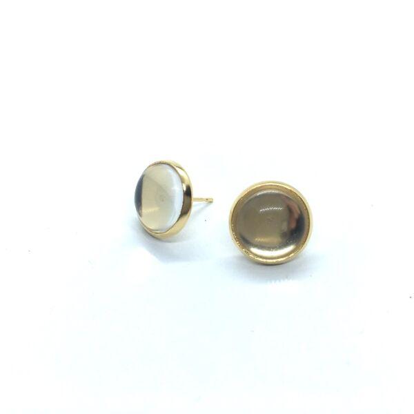 Arany színű nemesacél bedugós fülbevalóalap (12mm) hozzá tartozó üveglencsével