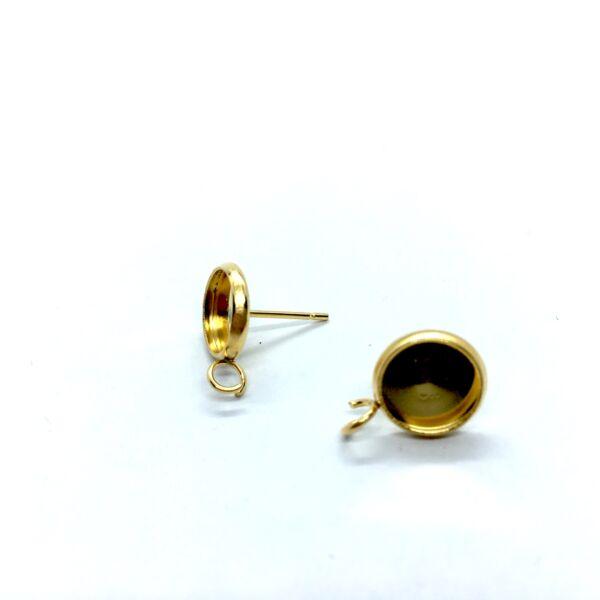 Arany színű nemesacél bedugós tovább építhető fülbevalóalap (8mm)