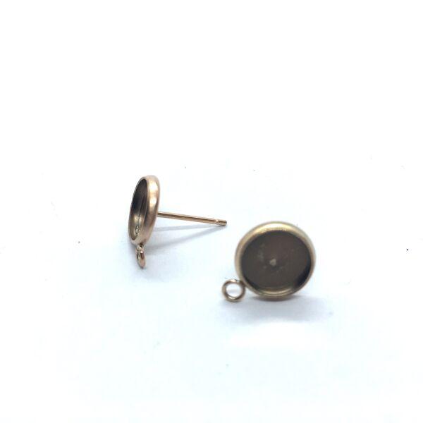 Rozé arany színű nemesacél bedugós tovább építhető fülbevalóalap (8mm)