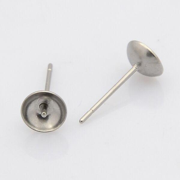Nemesacél bedugós fülbevalóalap gyöngyökhöz (6mm)