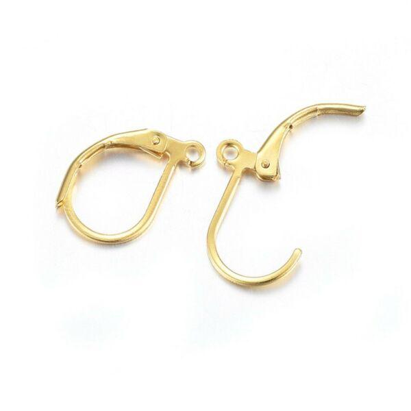1pár arany színű nemesacél kapcsos fülbevalóalap