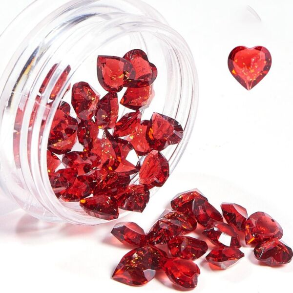 Piros szív díszítő elem 40db/5mm