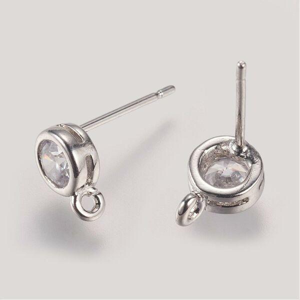 Ezüst színű bedugós tovább építhető fülbevalóalap cirkónia díszítéssel