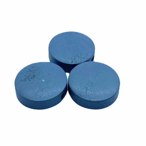 Szürkés kék festett fa korong gyöngy (15x4mm)
