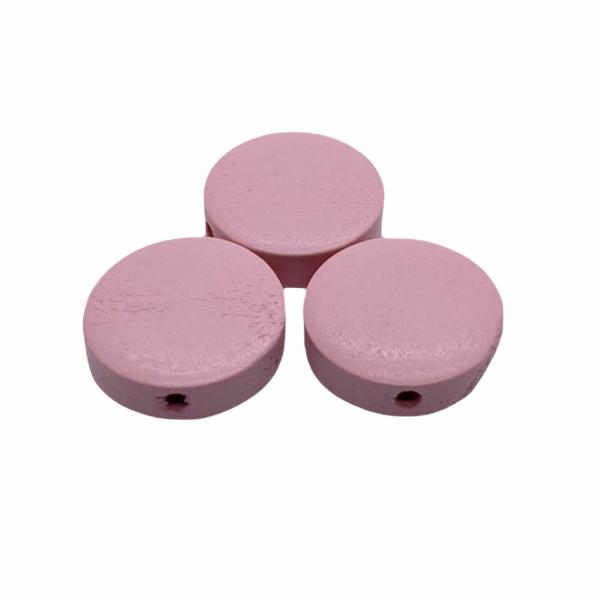 Világos rózsaszín festett fa korong gyöngy (15x4mm)