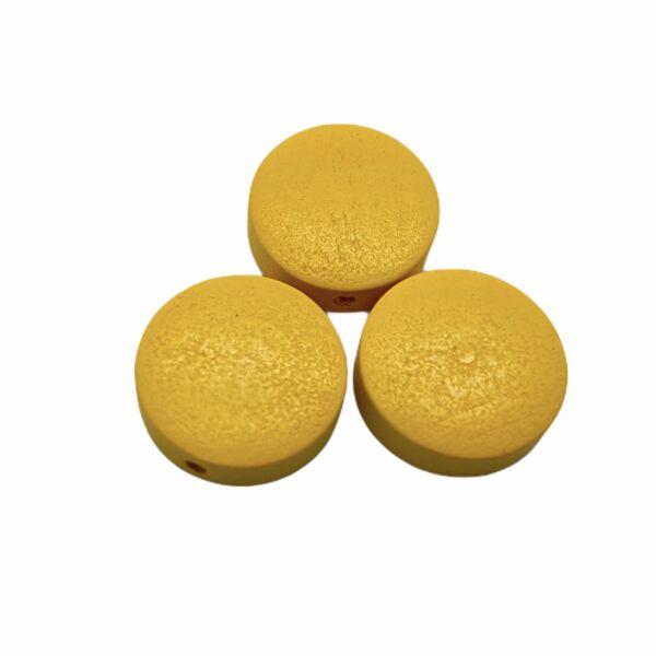 Sárga festett fa korong gyöngy (15x4mm)