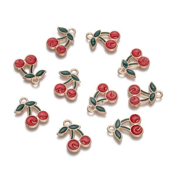 Színes zománcozott cseresznye fityegő