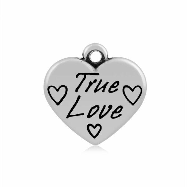 """316-os Nemesacél """"True love"""" szív fityegő"""