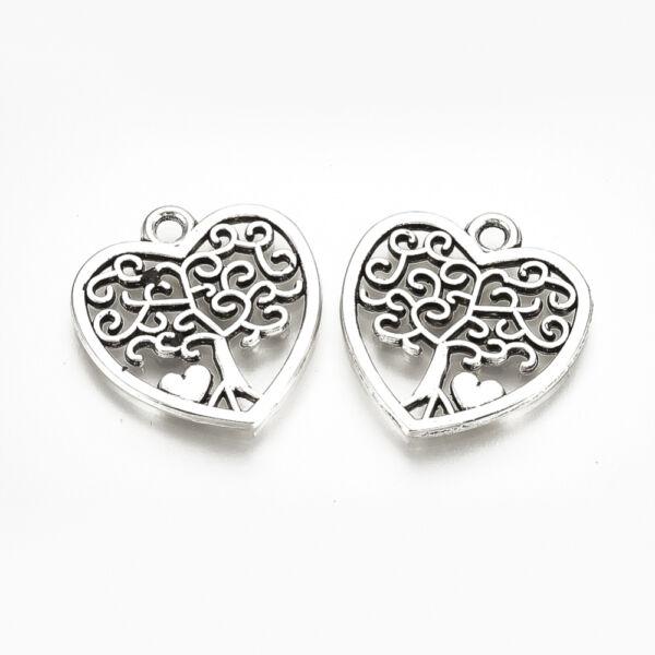 Antikolt ezüst színű életfa szív fityegő