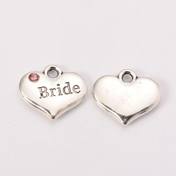 Antikolt ezüst strasszos menyasszony / bride fityegő