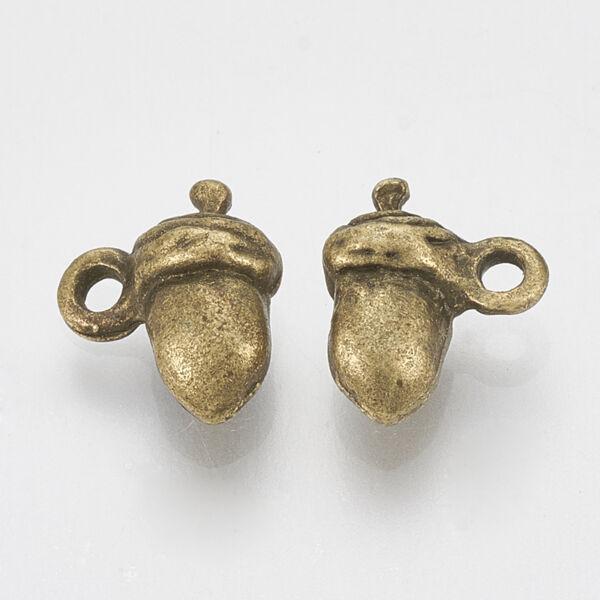 Antikolt bronz színű kicsi makk fityegő