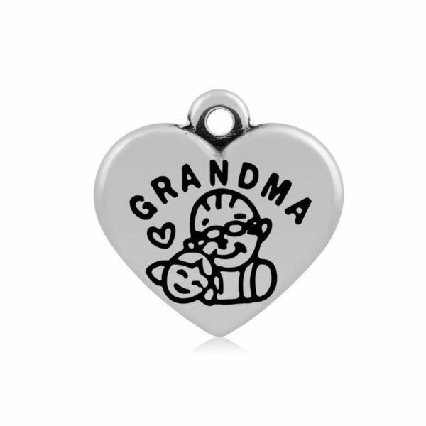 316-os Nemesacél grandma / nagymama szív fityegő