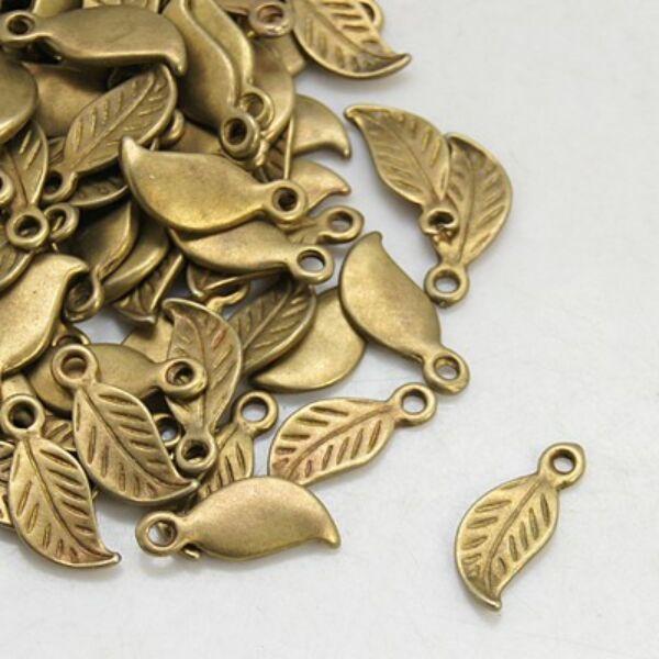 Antikolt bronz színű levél alakú fityegő