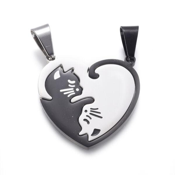 Nemesacél szív alakú cicás jing jang páros medál