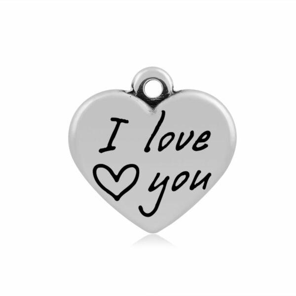"316-os Nemesacél ""I love you"" szív fityegő"