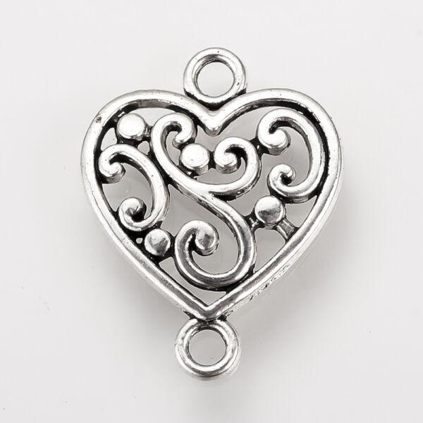 Antikolt ezüst színű szív alakú kapcsolóelem