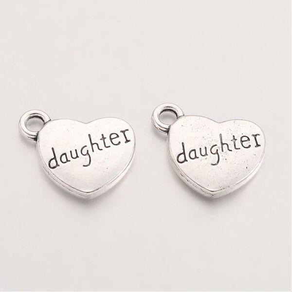 Antikolt ezüst színű daughter szív alakú fityegő