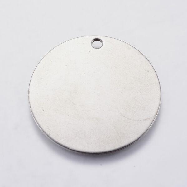 Nemesacél gravírozható medálka, fityegő (30mm)