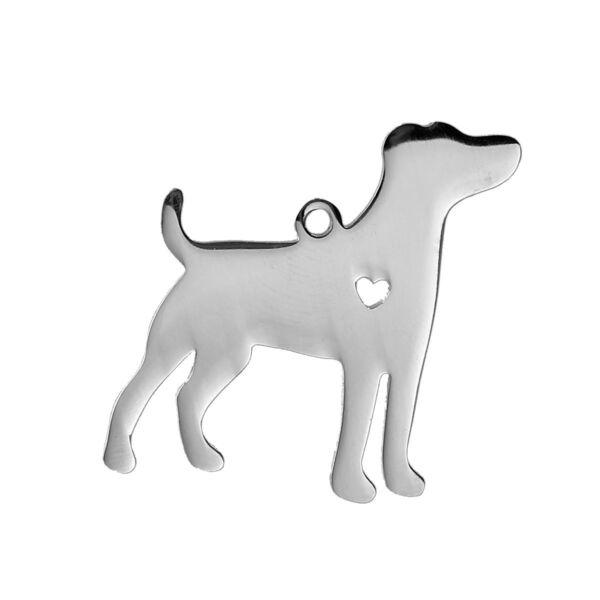 Nemesacél gravírozható jack russel terrier alakú medál