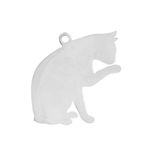 Nemesacél gravírozható cica alakú medál