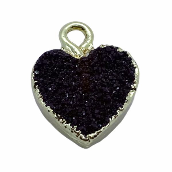 Druzy bordó gyanta szív fityegő aranyló részletekkel